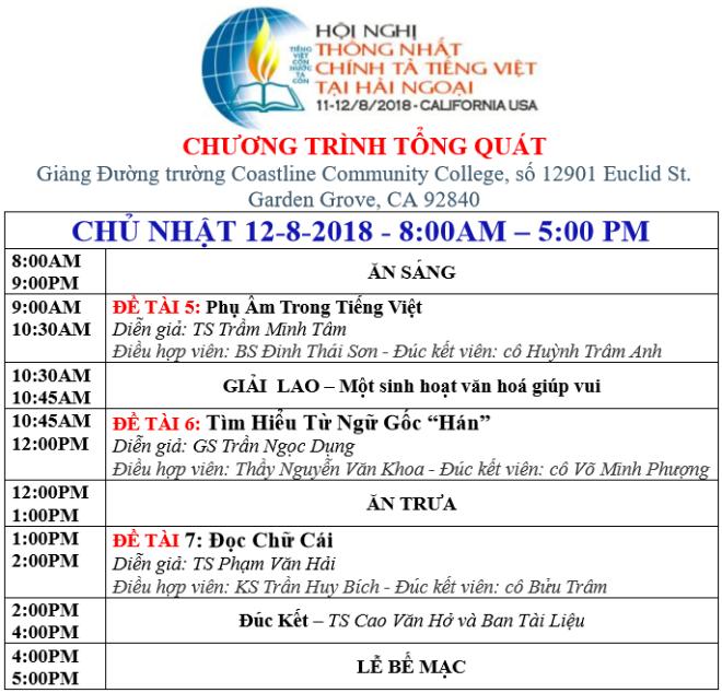 CHƯƠNG TRINH CHỦ NHẬT 12-8-2018 - FF
